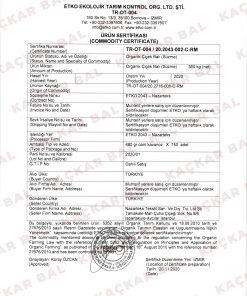 Kaçkar Bal organik sertifika