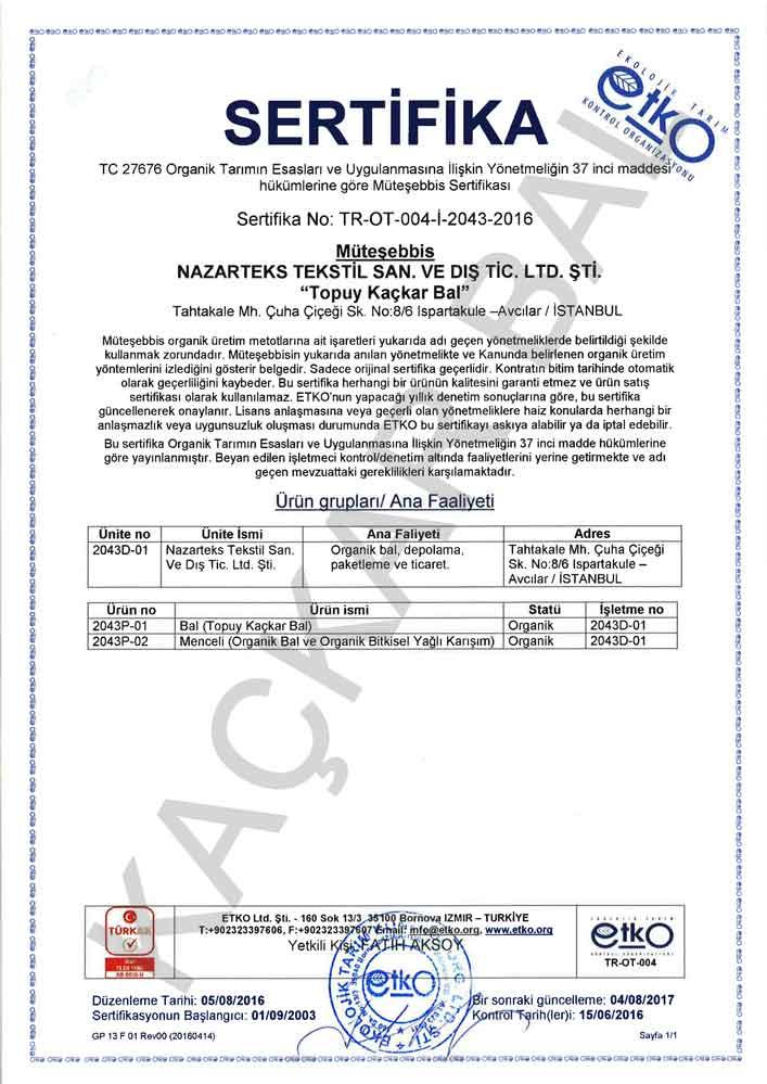 Organik sertifika